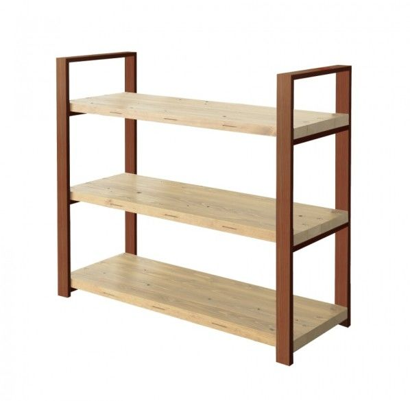 DIY FACTORY Wooden Shelf  Middle 天板:クリア塗装 / 脚:ブラウン W1200 D400 H1043 EKSS2A30410 1セット