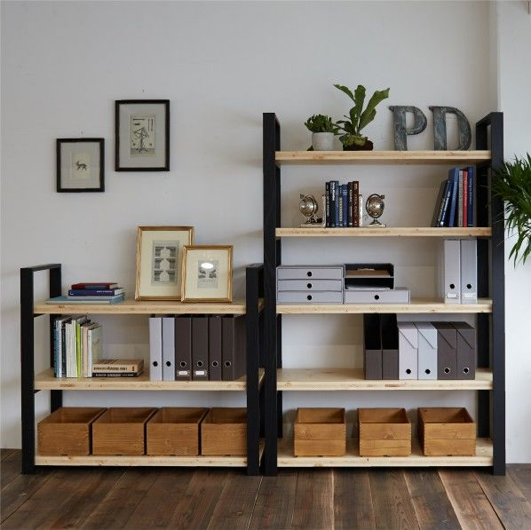 DIY FACTORY Wooden Shelf  Middle 天板:ブラウン / 脚:無塗装 W1200 D400 H1043 EKSS3A10410 1セット