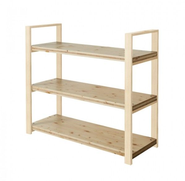 DIY FACTORY Wooden Shelf  Middle 天板:クリア塗装 / 脚:無塗装 W1200 D400 H1043 EKST2A10410 1セット