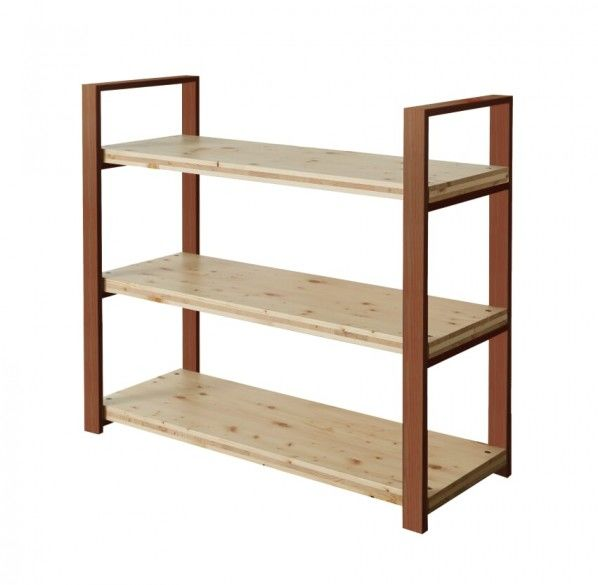DIY FACTORY Wooden Shelf  Middle 天板:クリア塗装 / 脚:ブラウン W1200 D400 H1043 EKST2A30410 1セット
