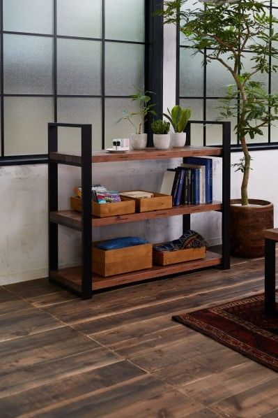 DIY FACTORY Wooden Shelf  Middle 天板:無塗装 / 脚:ブラウン W1200 D400 H1043 EKSS1A30410 1セット