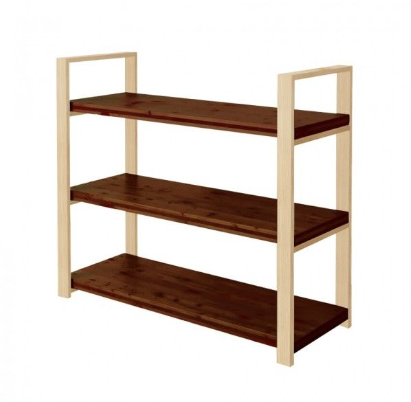 DIY FACTORY Wooden Shelf  Middle 天板:ブラウン / 脚:クリア塗装 W1200 D400 H1043 EKST3A20410 1セット